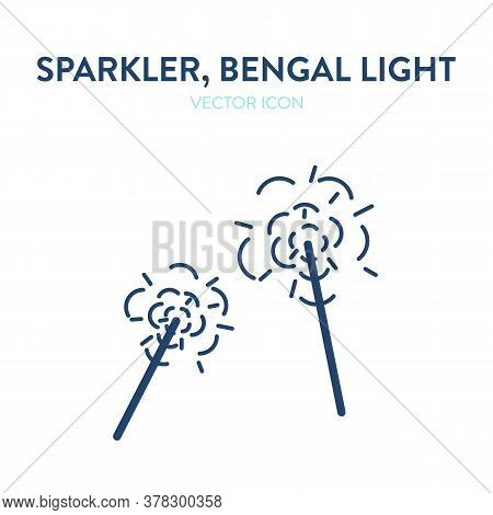 Sparkler Icon. Vector Outline Illustration Of An Ignited Bengal Light Creating Bright Fire Flashes.
