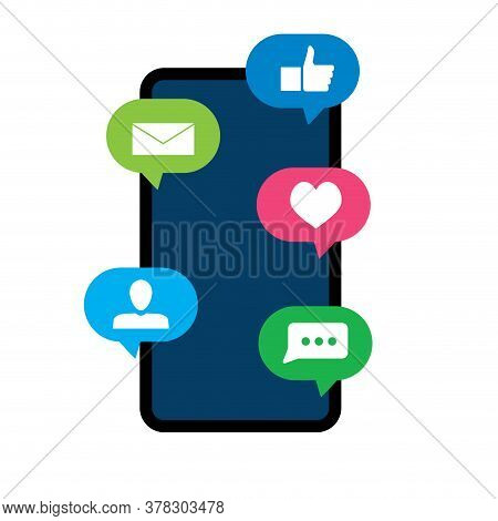 Notification Smartphone Speech Bubble, Friend Like Message Notice. Vector Smartphone With Bubble Cha