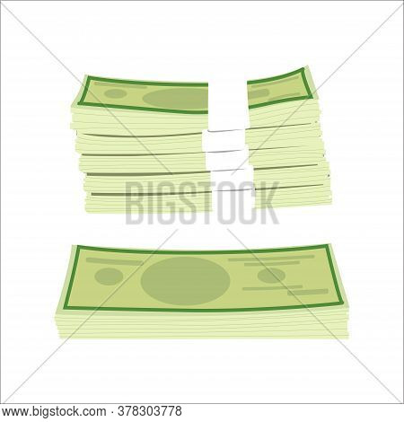 Stack Money, Dollar Cash. Vector Bundle Cash Money, Finance Currency Wealth, Capital Isolated, Dolla