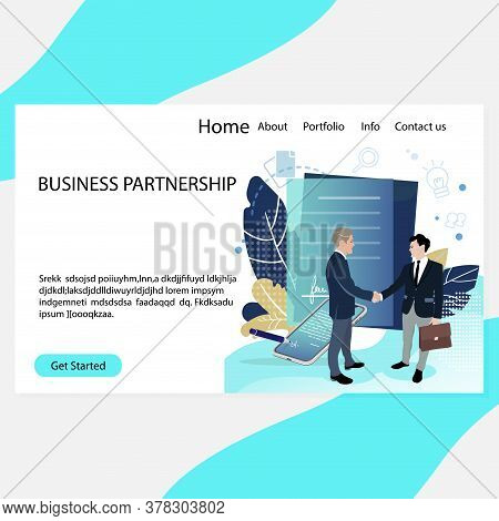 Business Partnership Website Or Landing Page, Consultation To Good Deal. Vector Business Meeting And