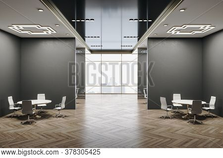 Luxury Conference Room Interior With City View, Wooden Floor And Daylight. Workplace And Company Con