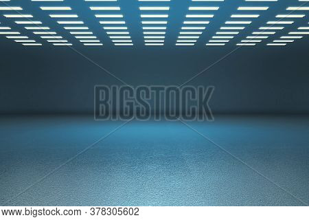 Blue Gallery Interior And Blank Wall With Copy Space. Gallery Concept. Mock Up, 3d Rendering