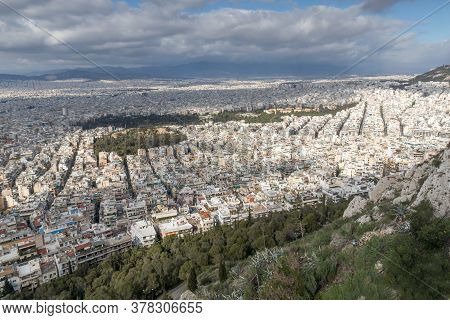 Panoramic View Of The City Of Athens From Lycabettus Hill, Attica, Greece
