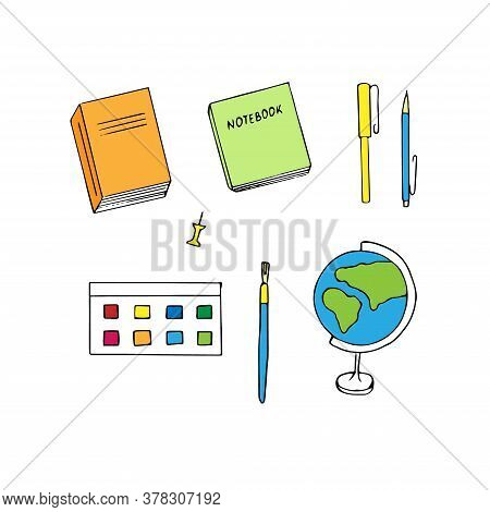 Education Set, Vector Illustration, Textbook, Notebook, Pen, Pencil, Globe, Paint, Brush, Hand Drawi