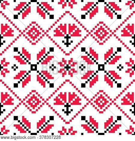 Traditional Ukrainian And Belarusian Folk Art Vector Seamlesss Pattern - Inspired By Old Cross-stitc
