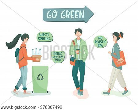 Eco Vector Illustration. Zero Waste Lifestyle. Go Green. People Sorting Waste And Use Eco Bag And Re