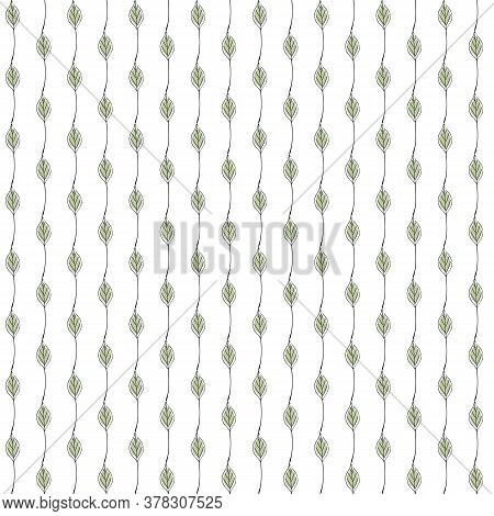 Vector Green Leaves On White Background Seamless Repeat Pattern. Background For Textiles, Cards, Man