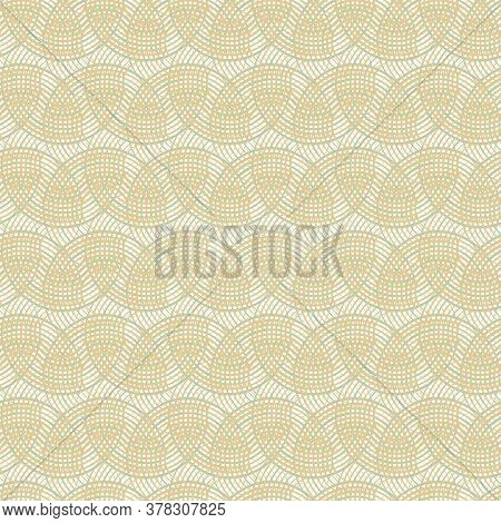Vector Peach Green Gold Overlapping Circles On White Seamless Repeat Pattern. Background For Textile