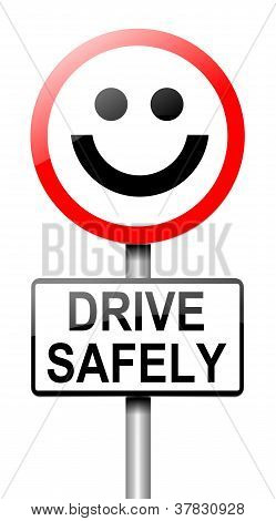 Illustration depicting a roadsign with a safe driving concept. White background. poster
