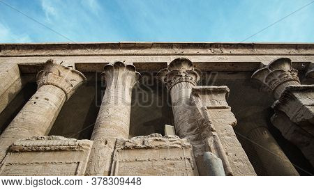 Edfu Horus Temple Columns Detail Beautiful Hieroglyphic Egypt Landmark