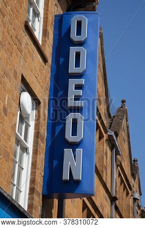 The Odeon Cinema Chain Sign In Banbury In Oxfordshire In The Uk Taken On The 26th June 2020.