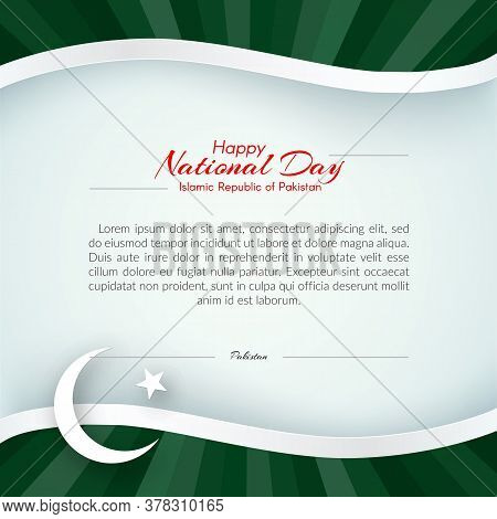Pakistan Flag Theme Card With Waveform Ribbon Color Of The National Flag Of Pakistan Text Of Happy N