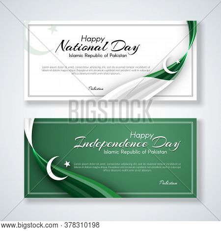 Pakistan Flag Theme Card With Wavy Ribbon Colors Of The National Flag Of Pakistan Text Of Happy Nati