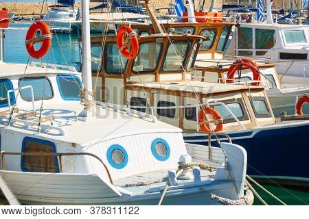 Moored fishing boats in the harbour in Heraklion, Crete, Greece
