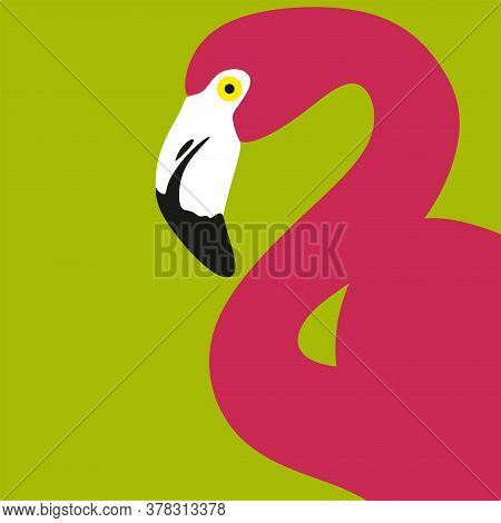 Pink Flamingo Bird.flamingos On A Yellow Background.exotic Beautiful African Bird Is The Icon For A