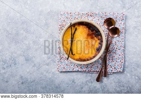 Creme Brulee - Traditional French Vanilla Cream Dessert With Caramelised Sugar On Top. Leite Creme C