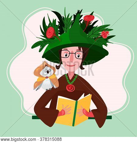 Witch Is Reading Book. Magical Woman In Big Hat With Leaves And Flowers Conjures. Sorceress With Wiz