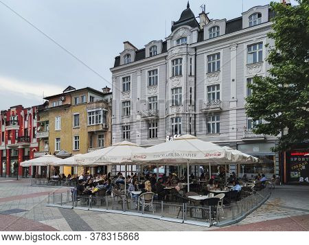 Plovdiv, Bulgaria - May 18, 2020: Central Pedestrian Street Knyaz Alexander I Know As Glavnata In Ci