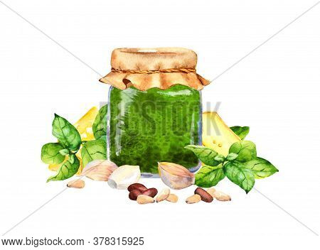 Homemade Basil Pesto Sauce In Glass Jar Decorated With Fresh Basil Leaves, Garlic, Cheese, Pine Nuts