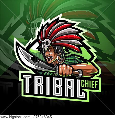 Tribal Chief Esport Mascot Logo With Text