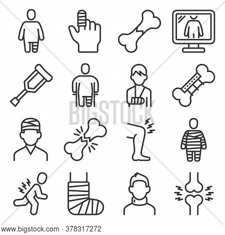 Fracture Bone Icons Set On White Background. Vector