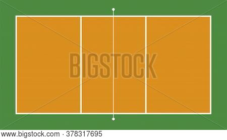 Frontal View Of Volleyball Field. Geometric And Flat.