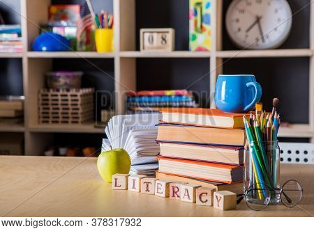 Back To School, Pile Of Books. School Board Background, Education Concept. Literacy Day. Back To Sch