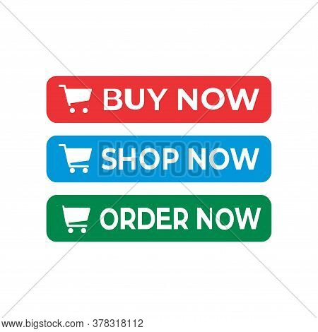 Buy Now Button With Cart Icon. Shop Now Button With Cart Icon. Order Now Button With Cart Icon. Butt