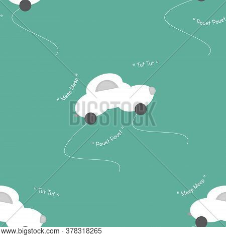 Funny White Car In The Shape Of A Cloud. With Car Noise. Green Background. Seamless Pattern For Kids