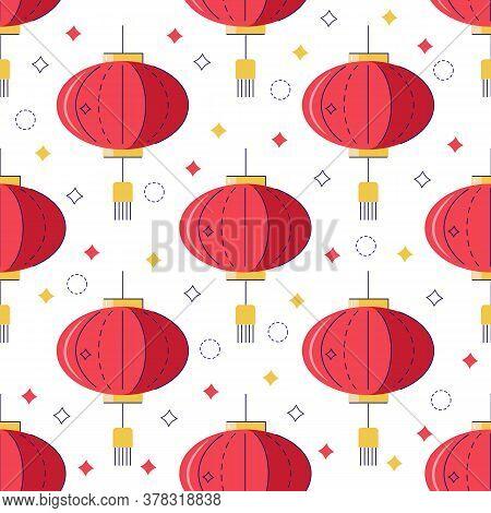 Chinese Lanterns Vector Seamless Pattern. Lantern Festival. Chinese Holiday Sign. Chinese New Year B