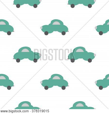 Funny Green Car In The Shape Of A Cloud. White Background. Seamless Pattern For Kids. Vector Illustr