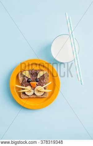 Funny Breakfast Toast For Kids Shaped As Cute Cat. Food Art Sandwich For Child. Isolated. Animal Fac