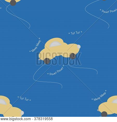 Funny Yellow Car In The Shape Of A Cloud. With Car Noise. Blue Background. Seamless Pattern For Kids