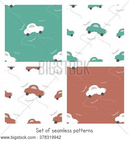 Funny Car In The Shape Of A Cloud. With Car Noise. Color White, Orange And Green. Set Of Seamless Pa