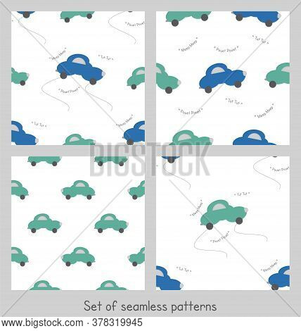 Funny Green And Blue Cars In The Shape Of A Cloud. With Car Noise. White Background. Set Of Seamless
