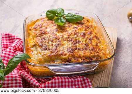 Delicious Traditional Italian Lasagna Made With Minced Beef Bolognese Sauce. Lasagna. Traditional It