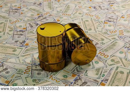 Three Glossy Golden Barrels Of Oil On A Large Pile Of American Dollars, The Concept Of High Volatili