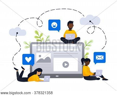 Content Strategy Marketing Vector Illustration. Social Media Advertising Concept. Small African Peop
