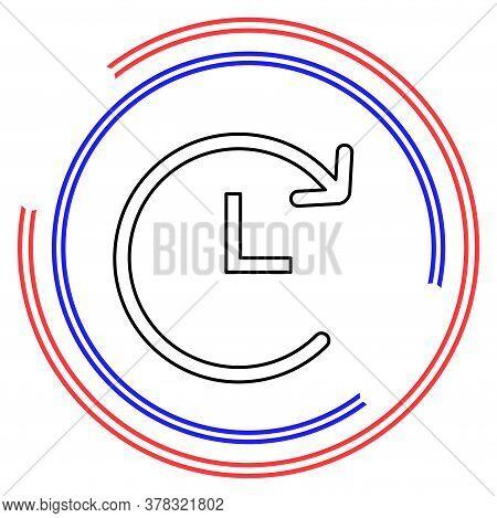 Running Time Illustration - Vector Clock Time Icon, Deadline Symbol. Thin Line Pictogram - Outline E