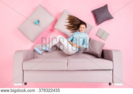Top View Above High Angle Flat Lay Flatlay Lie Concept Of Her She Nice Attractive Sad Girl Lying On