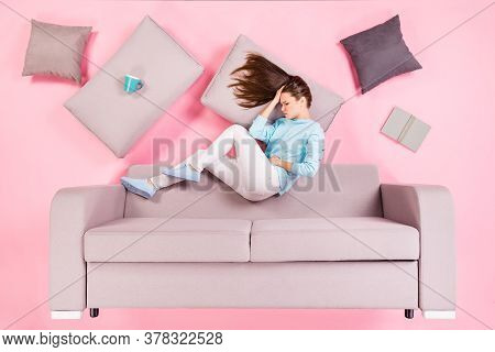 Top View Above High Angle Flat Lay Flatlay Lie Concept Of Her She Nice Attractive Depressed Girl Lyi