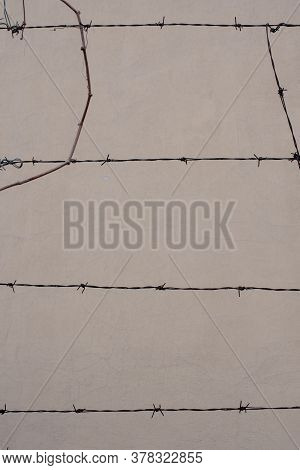 Background Concrete Wall Is Separated By A Wire, Beige Gray Concrete Wall, Unique Texture