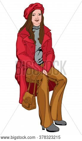 Adult Woman With Joyful Facial Expression Dressed In Red Beret And Coat, Brown Pants And Handbag, Gr