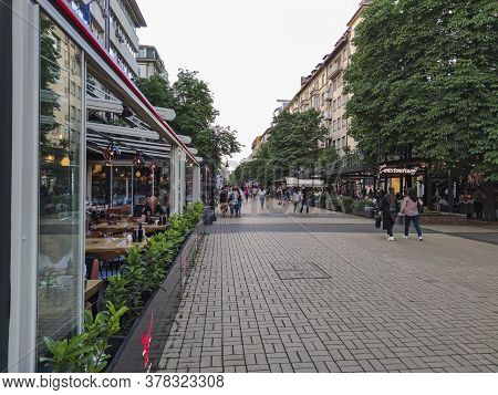 Sofia, Bulgaria -june 25, 2020: Walking People On Boulevard Vitosha In City Of Sofia, Bulgaria