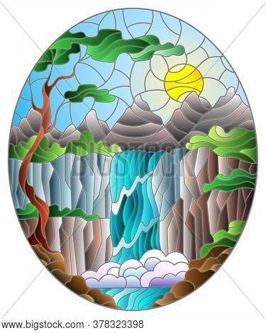 Illustration In Stained Glass Style Landscape ,the Tree On The Background Of A Waterfall, Mountains,