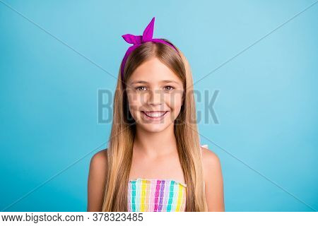 Close-up Portrait Of Her She Nice Attractive Lovely Cute Toothy Cheerful Cheery Long-haired Pre-teen