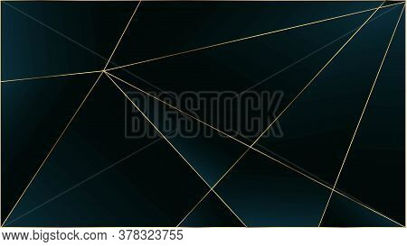 Blue Premium Triangular Pattern. Gold Lines Polygon Luxury Border. Rich Vip Silver Geometric Celebra
