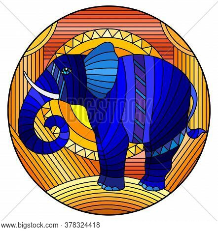 Illustration In Stained Glass Style Blue Elephant On A  Abstract Orange Geometric Background With Su