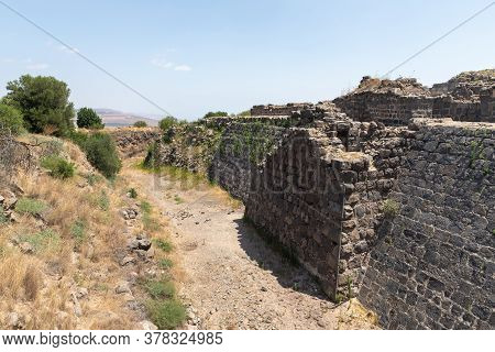 Afula, Israel, July 18, 2020 : Remains Of The Outer Walls On The Ruins Of The Great Hospitaller Fort