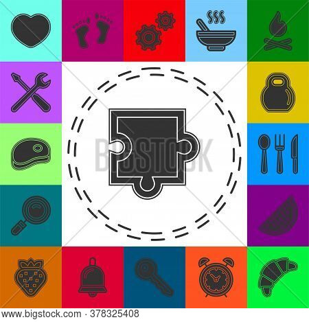Puzzle Piece Icon, Vector Puzzle Illustration Symbol, Jigsaw Element Shape Isolated. Flat Pictogram
